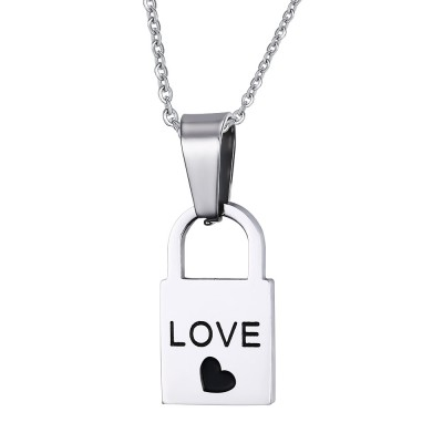 Love Design Lock and Key Titanium Steel Necklace