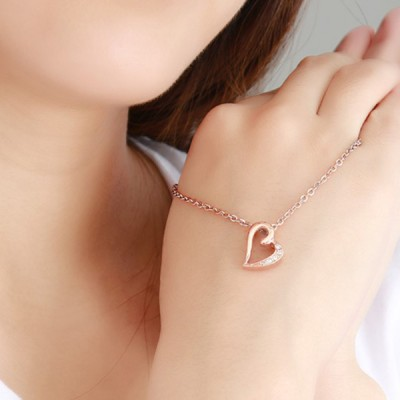 Rose Gold Heart Titanium Steel With Gemstone Necklace