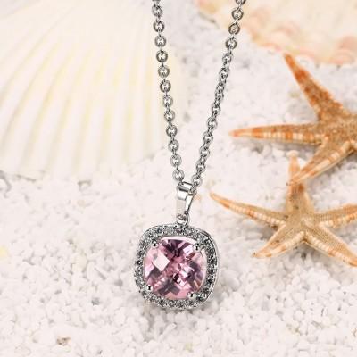 Round 925 Sterling Silver With Pink Sapphire Necklace
