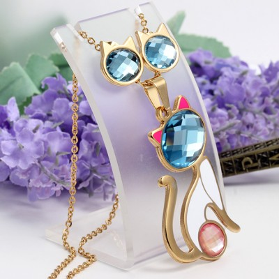 Cute Cat Titanium Steel With Aquamarine and Pink Sapphire Necklace