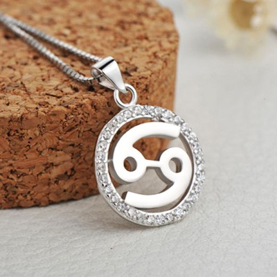 Cancer White Sapphire 925 Sterling Silver Necklace