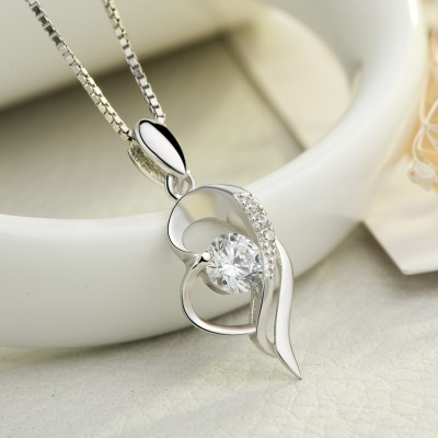Vintage White Sapphire 925 Sterling Silver Heart Necklace