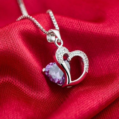 Gorgeous Amethyst 925 Sterling Silver Heart Necklace