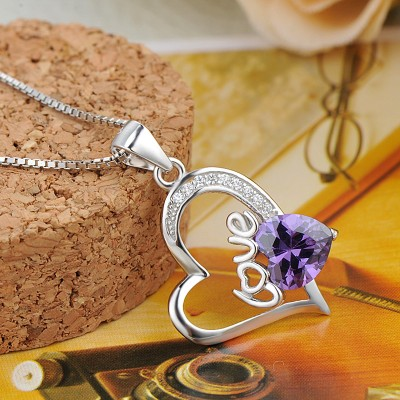Simple Amethyst 925 Sterling Silver Heart Necklace