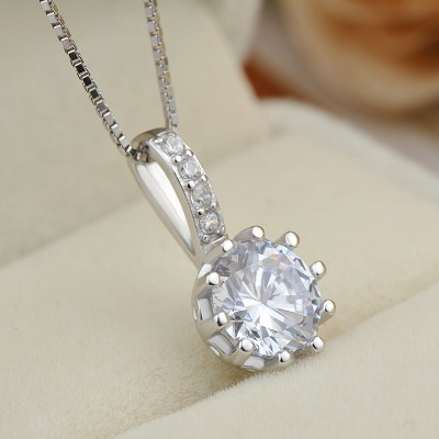 Simple White Sapphire 925 Sterling Silver Fashion Necklace