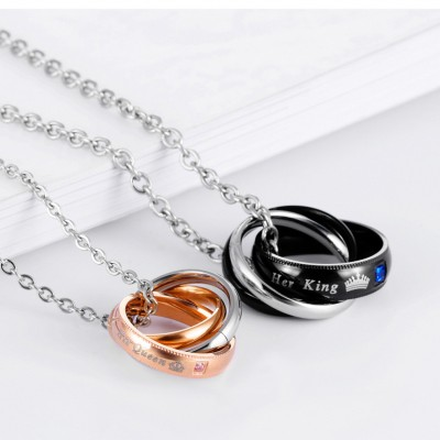 Tinnivi Tianium Steel His Queen Her King Pendant Necklaces For Couples