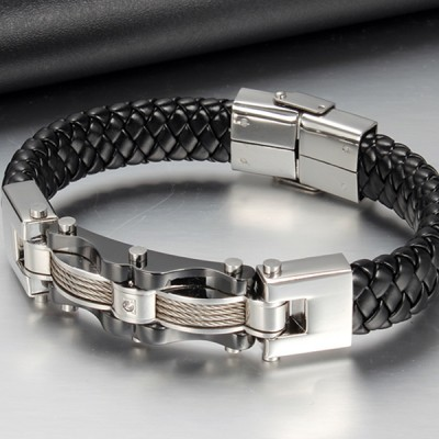 Black Leather Titanium Steel Bracelet