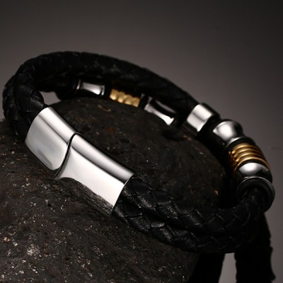 Black Leather Gold and Silver Titanium Steel Bracelet