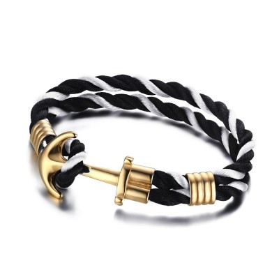 Black and White Braided Rope Gold Anchor Titanium Steel Bracelet
