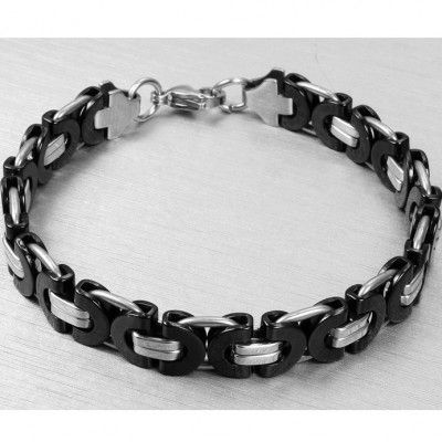 Black and Silver Chain Design Titanium Steel Bracelet