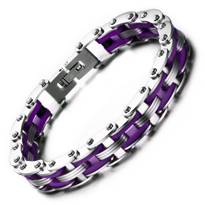 Silver and Regency Chain Design Titanium Steel Bracelet