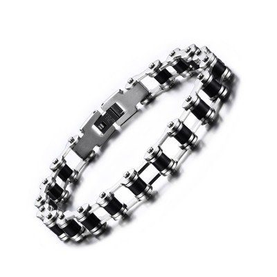 Silver and Black Chain Design Titanium Steel Bracelet