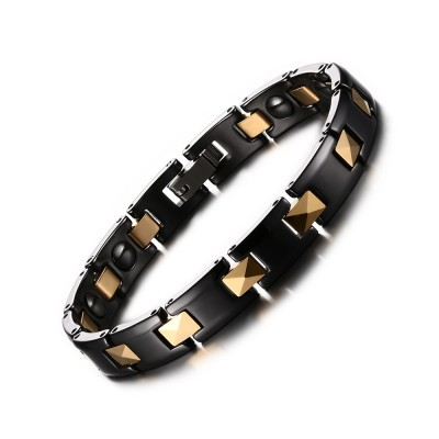 Black and Gold Titanium Steel Chain Bracelet