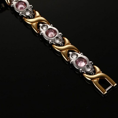 Pink Sapphire Silver and Gold Titanium Steel Bracelet
