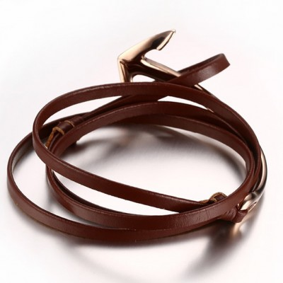 Scarlet Leather Rose Gold Anchor Titanium Steel Bracelet