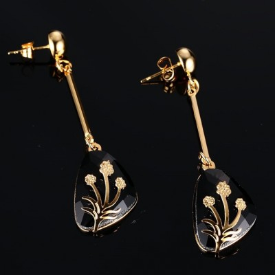 Gold 925 Sterling Silver Black Gemstone Earrings
