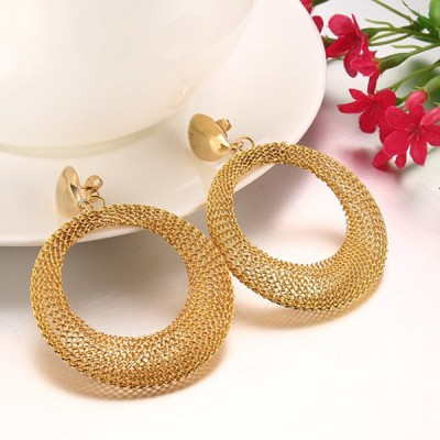 Round Gold Titanium Steel Earrings