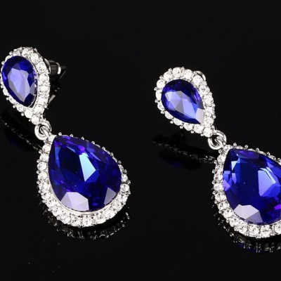 925 Sterling Silver Pear Cut Sapphire Earrings
