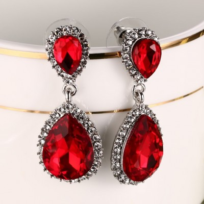 925 Sterling Silver Pear Cut Ruby Earrings