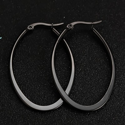 Simple Black 925 Sterling Silver Earrings