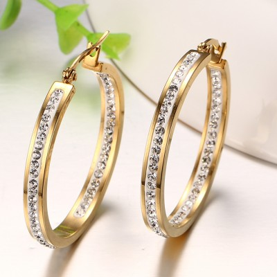 Nice Round Cut White Sapphire Gold 925 Sterling Silver Earrings
