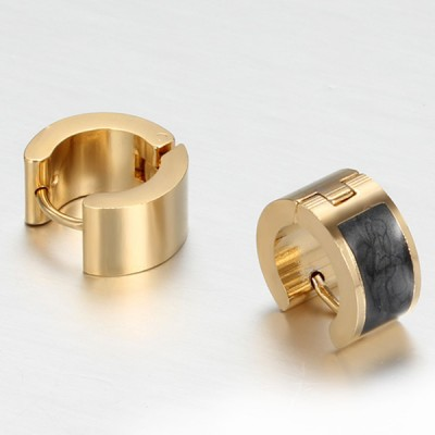 Black and Gold 925 Sterling Silver Earrings