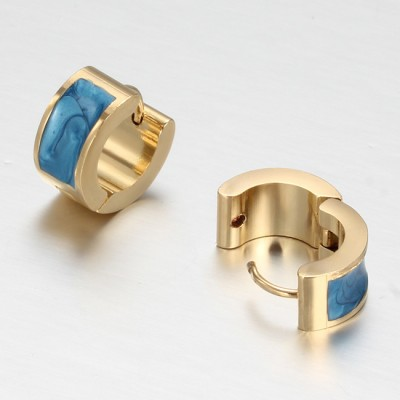 Blue and Gold 925 Sterling Silver Earrings