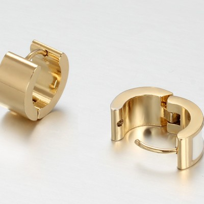 White and Gold Titanium Steel Earrings
