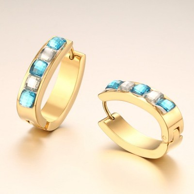 Princess Cut Aquamarine and White Sapphire Gold Titanium Steel Earrings