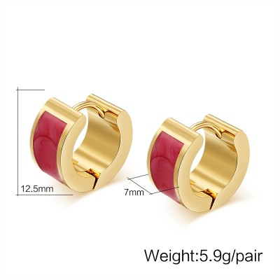 Red and Gold 925 Sterling Silver Earrings
