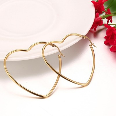 Women's Gold Color Elegant Big Heart Hoop Earrings