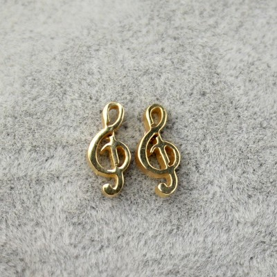 Note Design Gold 925 Sterling Silver Earrings