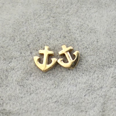 Titanium Stainless Steel Charming Lucky Anchor Stud Earrings