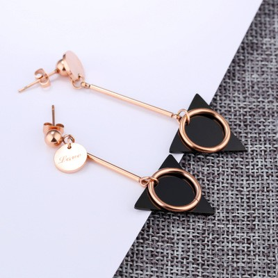 Tinnivi Stylish black Triangle circle Titanium Steel Dangle Earrings