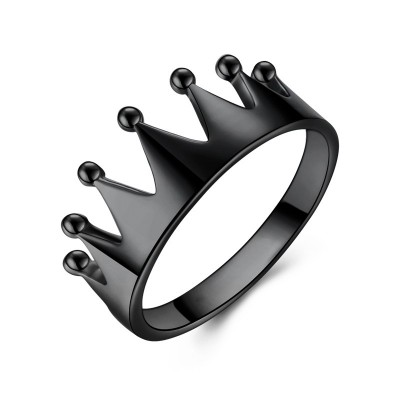 Tinnivi Sterling Silver Black Crown Ring