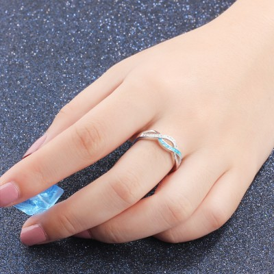 Tinnivi Woven Blue Opal And Created White Sapphire Sterling Silver Womens Band