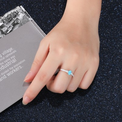 Tinnivi Gorgeous Three Stone Oval Cut Blue Opal And Created White Sapphire Womens Ring