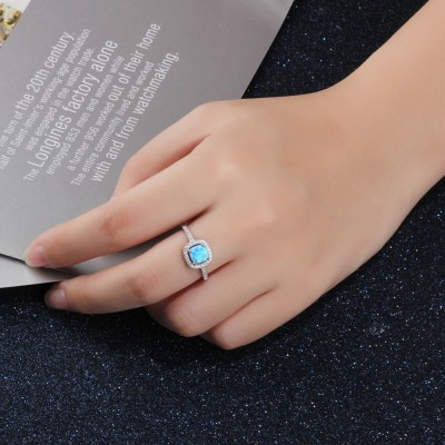 Tinnivi Classic Cushion Cut Opal Sterling Silver Womens Ring