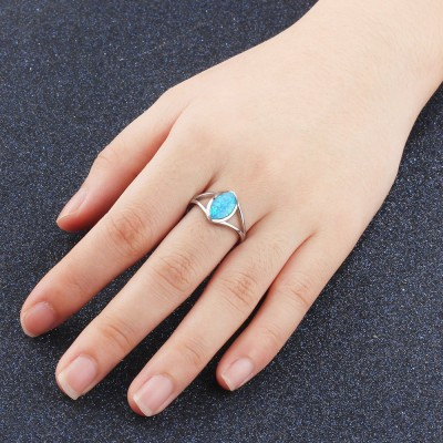Tinnivi Fashion Sterling Silver Marquise Cut Blue Opal Womens Ring