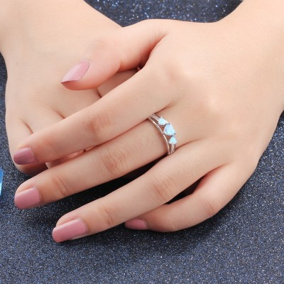 Tinnivi Sterling Silver Three Stone Heart Cut Blue Opal Created White Sapphire Womens Ring