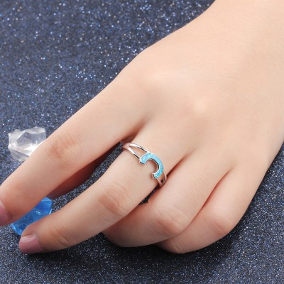 Tinnivi Fashion Sterling Silver C Shape Blue Opal Womens Ring