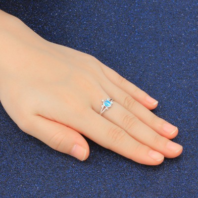 Tinnivi Sterling Silver Cute Turtle Blue Opal Womens Ring