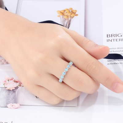 Tinnivi Stylish Sterling Silver Blue Opal Round Womens Ring