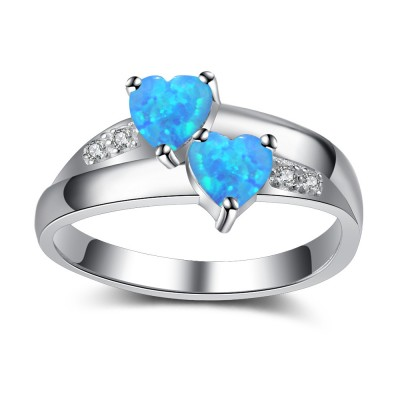 Tinnivi Sterling Silver Double Heart Cut Blue Opal With Created White Sapphire Womens Ring
