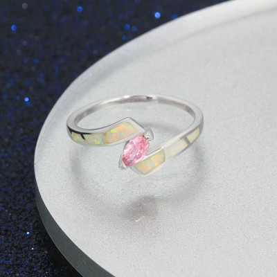 Tinnivi Sterling Silver Marquise Cut Pink Gemstone With Opal Womens Ring