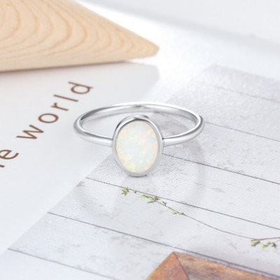 Tinnivi Simple Oval Cut Opal Sterling Silver Womens Ring