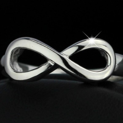 Tinnivi Polished Infinite Sterling Silver Womens Ring