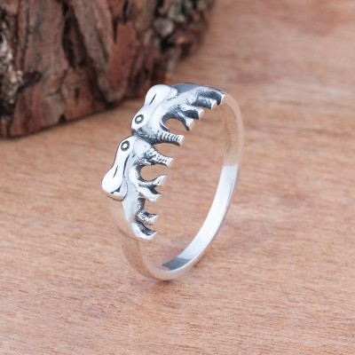 Tinnivi Cute Two Elephant Sterling Silver Womens Ring