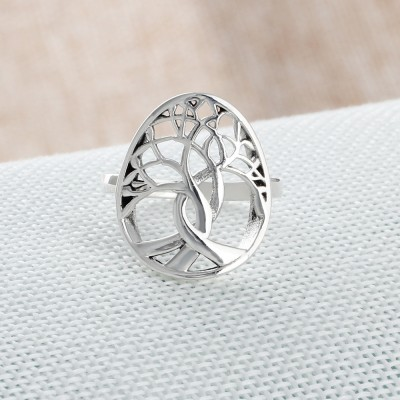 Tinnivi Hollow Out Lucky Tree Sterling Sliver Womens Band