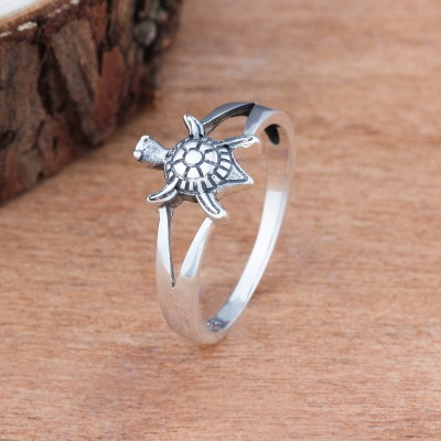 Tinnivi Cute Turtle Sterling Sliver Womens Ring